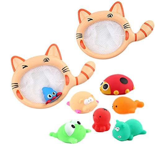 Schimer Juguete de baño para bebé, 7 tipos de animales pequeños, gatitos, pesca, juguete de baño para niños, juguete de baño para niños y niños, regalo