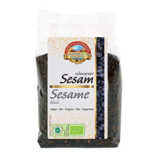 Schwarzer Sesam Bio 1 kg, ungeschält, ungeröstet, aromatische Sesamkörner, Sesamsamen, Rohkost