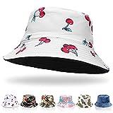 Dyfcnaiehrgrf Sombreros de cubo para mujer, sombrero de verano, sombrero de pescador, de algodón, reversible, sombrero de playa, para mujeres, hombres, adolescentes