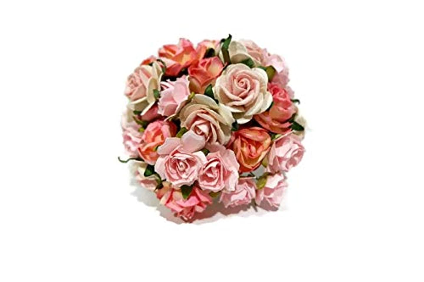 (N.76) 50 Pcs Rose Mulberry 3 Color Pink Tone Paper Flower Mixed Scrapbooking Wedding
