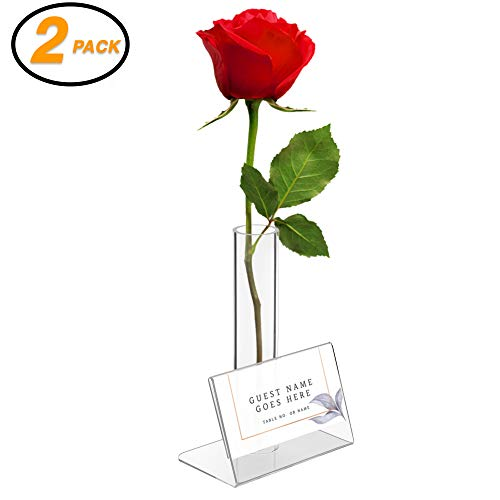 """Srenta Clear Acrylic 5"""" Bud Vase with Greeting/Place Card Holder   for Displaying Flower and The Gift Message   Best for Buffet Tables, Gifts, Wedding Parties or Guest Rooms. Set of 2"""