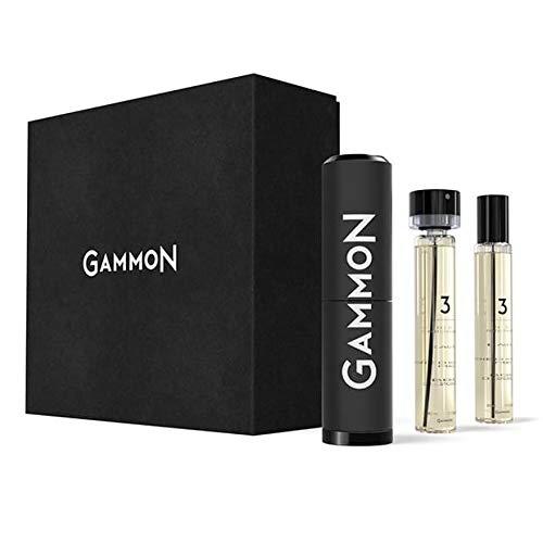 GAMMON Parfum Starter-Set 3 (2x20 ml), das holzig-raue LEATHER JACKET Herren Parfum, langanhaltender Duft für Männer mit 20% Parfum-Öl, inkl. hochwertigem Aluminium Suit