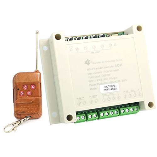 DollaTek Interruttore remoto wireless a 4 vie WiFi Smart Switch Timer/Ritardo a casa fai-da-te/a innesto/Relè di interblocco - Avere il telecomando Shell 7-30V + 433M