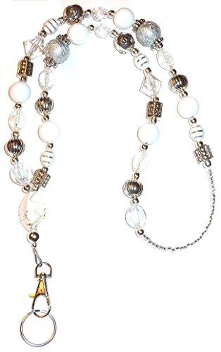 "Chunky Style Fashion Women's Beaded Lanyard 34"", Breakaway and Non Breakaway Available, for Keys, Badge Holder (Chunky White - Non Breakaway (Stronger))"