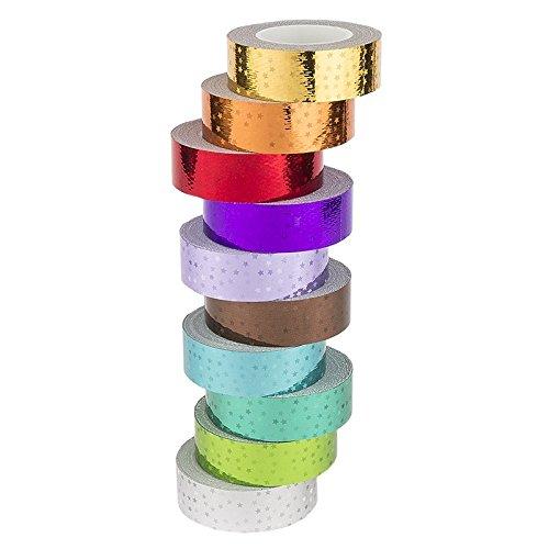 Ideen mit Herz Deko-Klebeband, metallic, 5 Meter je Rolle, 10 Rollen | Washi Tape | Masking Tape | Dekoband | Laseroptik, gelasert, Hologramm, Holografie, 10 (Laserstars, 15mm breit)