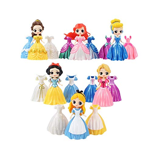 Home Furnishings 18pcs 10cm Princesa Figuras Vestido Cambiable Belle Alice Cenicienta Ariel Sirena Blancanieves Enredados Belleza Durmiente Modelo Juguetes