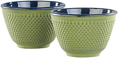 Rosenstein & Söhne Teecup: 2er-Set asiatische Teebecher aus Gusseisen und Emaille, olivgrün (Teeschale Japan)