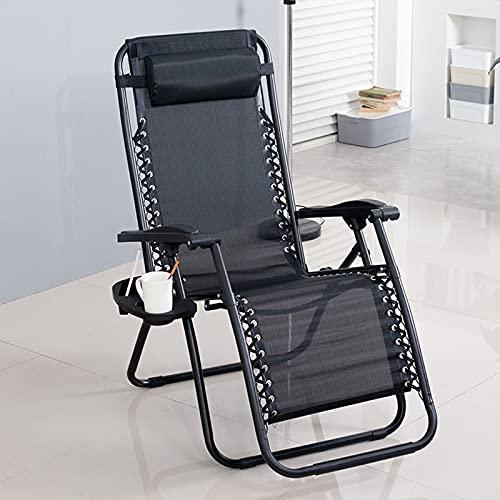 ALLWIN Tumbonas de Sol de Gravedad Cero, cómodas sillas de reclinación de línea textina, sillas de Camping Plegables para jardín para Acampar