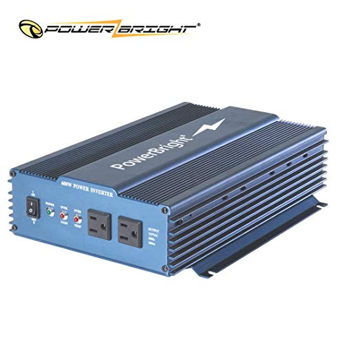 Power Bright Pure Sine Power Inverter 600 Watt True Sine Continuous 12 Volt DC to 120 Volt AC w/USB Charging Port. Perfect for an Emergency, Hurricane, Storm Outage - APS600-12