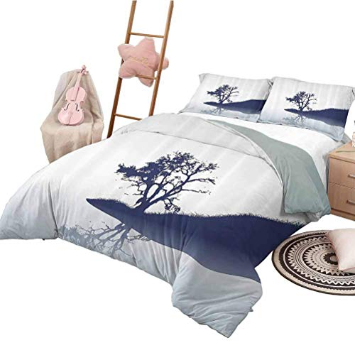 Hotel Conjuntos de Cama de Lujo Conjunto de Funda nórdica Nature Girls Silueta de árbol Solitario Junto al Lago con Efectos de Espejo Melanc Ilustración Indigo Baby Blue Queen Size
