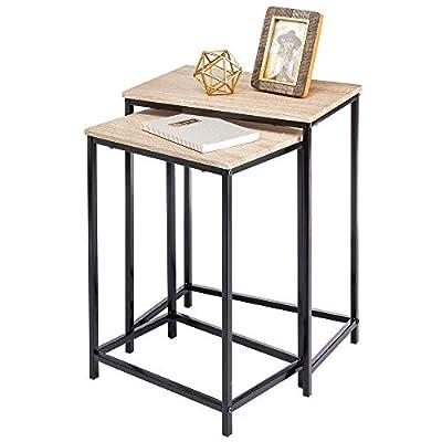 mDesign Modern Nesting Side/End Table - Metal Wood Design - Sturdy Vintage, Rustic, Industrial Home Decor Accent Furniture for Living Room, Bedroom - Set of 2 - Natural/Black