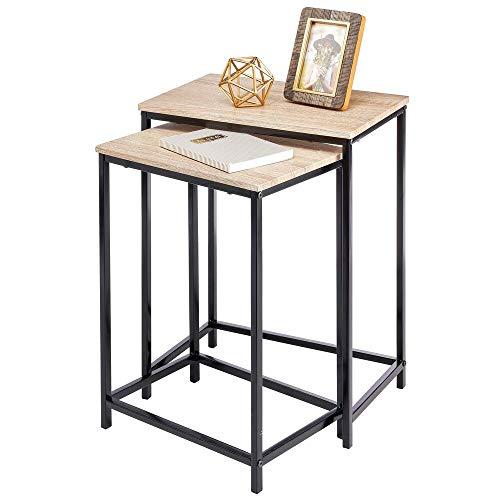 mDesign Set van 2 bijzettafels – moderne salontafel in industriële look – houten tafel met metalen poten voor het neerleggen van laptops, tijdschriften of boeken Natuurkleuren/zwart