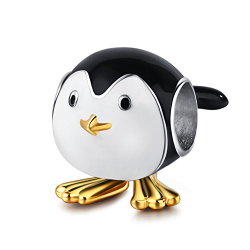 Christmas Gifts Cute Baby Penguin 925 Sterling Silver Charms Bead Gold Plated Animal Black White Enamel Fits Bracelets Jewelry