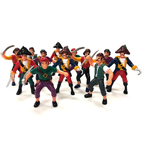 Kicko Pirate Action Figures for Imaginary Play, Gift and Prizes - Assorted, 3 to 4 Inches 12 Pack