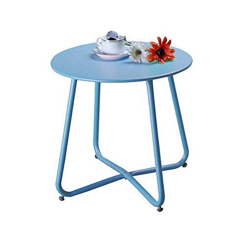MNBV Steel Coffee Table, Weather Resistant Outdoor Side Table, Patio Small Round End Tables, Sofa Side Table Bedside Table, 17.7X17.9In,Blue