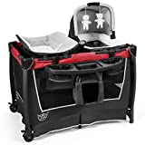 BABY JOY 4 in 1 Portable Baby Playard with Bassinet, Changing Table, Foldable Bassinet Bed & Activity Center, Newborn Napper with Music, Large Capacity Storage Shelf, Oxford Carry Bag (Ruby red)