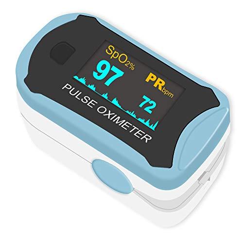 Pulsoximeter, Easy@Home Oximeter Fingerpulsoximeter zur Messung der Sauerstoffsättigung (SpO2), Herzfrequenz und PI, Drehbares OLED-Display, mit Batterien, tragbarem Umhängeband und Nylontasche-Blau