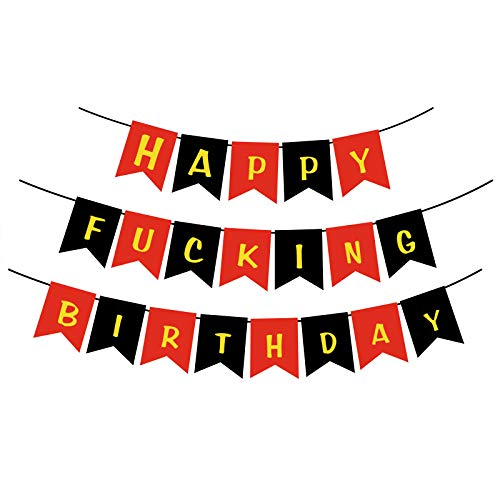 Red/Black Happy Birthday Banner Garland, Funny Happy 40th, 50th, 60th, 70th, 80th Fabulous Birthday Party Decorations Supplies
