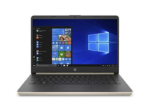 "2020 HP 14"" HD (1366 x 768) Thin and Light Laptop PC, Intel Celeron N4020 Dual-Core Processor, 4GB DDR4 RAM, 64GB eMMC, HDMI, WiFi, Bluetooth, Webcam, Windows 10 S, 1 Year Microsoft 365, Pale Gold"