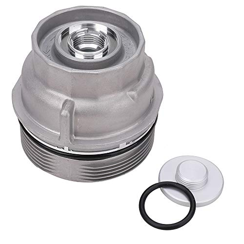 Oil Filter Housing Cap Assembly with Oil Plug for 2005-2019 Toyota RAV4 4Runner Tundra Fj Cruiser Venza Avalon Sienna Camry Highlander RX350 - Replace 15620-31060, 1562031060, 15643-31050, 1564331050