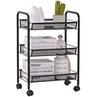 KING GLOBAL 3-Tier Mesh Wire Rolling Cart