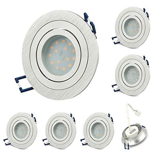 KYOTECH LED Einbaustrahler Schwenkbar 6er Set 5W Deckenstrahler Leuchtmittel Warmweiß 3000K 400lm Ra> 80 Deckeneinbauleuchte LED Spot 110° Abstrahlwinkel