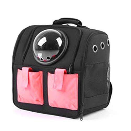 DDEPND - Zaino trasparente per animali domestici, con capsula di spazio per pappagalli, borsa da viaggio per uccelli, zaino trasparente traspirante a 360° Nero