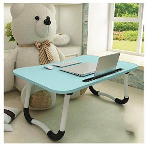 RKRXDH Portable Foldable Desk,Adjustable Laptop Bed Table For Bed And Sofa Breakfast Bed Tray Laptop Lap Desk Notebook Stand Reading Holder For Couch Floor overbed table (Color : Blue+card slot)