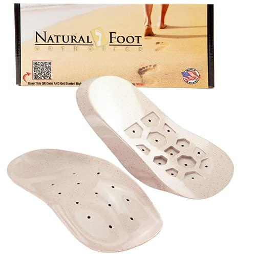 Natural Foot Orthotics Inserts for Plantar Fasciitis, Support Shoe Insert, Feet/Heel/Back/Joint Pain Relief, Running Walk-Fit Shoes/Boots/Heels Insoles Good for Med to High Arches , Made in The USA