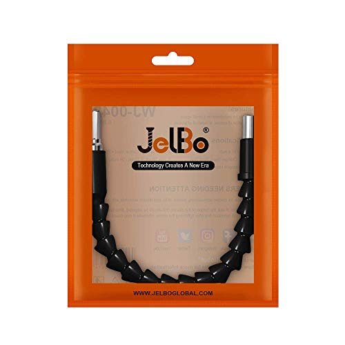 JelBo 11.8 Inch Flexible Shaft Extension Bits, 1/4'' Hex Shank Magnetic Screwdriver Bit Holder Connect Link, Flex Drive Quick Connect Adapter of Power Tools Accessories by Electric Drill(Black)