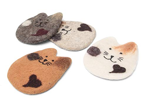 Super Absorbent Handmade Cat Coasters-Set of Four-4-Wool Felt-Cat Gifts for Cat Lovers Coaster Set Funny Drink Coasters Cat Mom Gift House Warming Gift White Elephant Party Crazy Cat Lady Gift