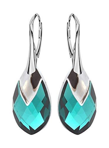 * beforya Paris * Novedad–Metallic Cap–La exclusiva Color Emerald–Pendientes–Plata 925Schön–Pendientes con Cristales de Swarovski Elements–Fantástica Pendientes