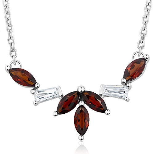 Gem Stone King 925 Sterling Silver Marquise Cut Red Garnet 1 Inch Pendant Necklace (1.00 Cttw With Chain)