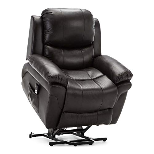 More4Homes MADISON DUAL MOTOR ELECTRIC RISE RECLINER BONDED LEATHER ARMCHAIR ELECTRIC LIFT RISER CHAIR (Brown)