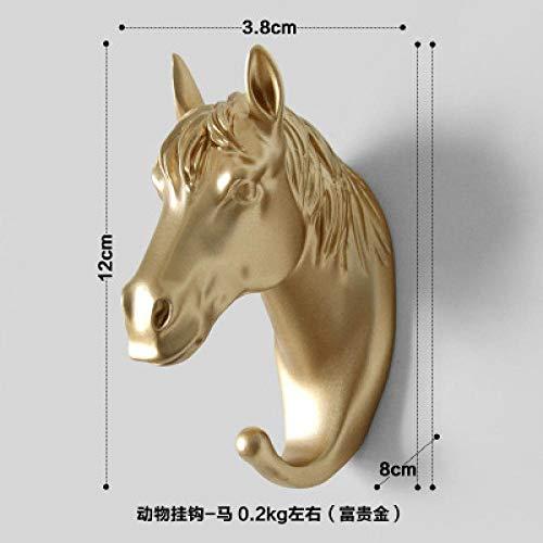 WANDOM Europese creatieve kledinghaken eenwandige sleutel deur kledinghaken badkamer dier wandbehang decoratieve haken Golden Horse