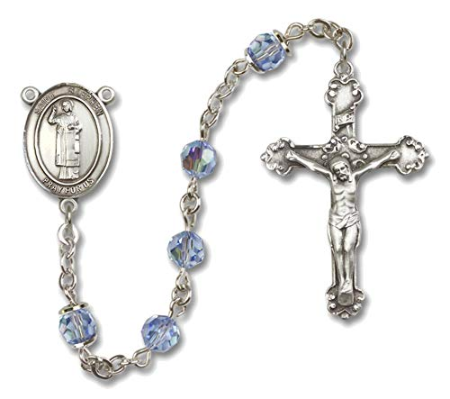 Bonyak Jewelry St. Stephen The Martyr Sterling Silver Rosary with June Light Purple Beads