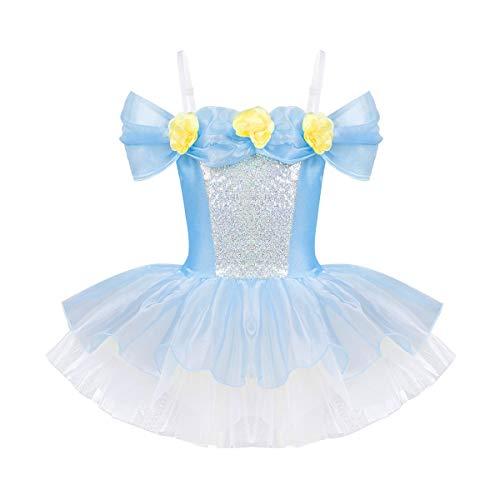 iixpin Vestido de Hada Niñas (3-8 Años) Vestido Princesa Hombro Descubierto Traje de Danza Fiesta Actuación con Lentejuelas Leotardo Clásico Dancewear Ballet