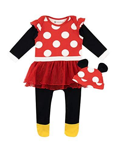 Disney Set di Tutina da Notte e Cappello per Bambina Minnie Mouse Rosso 3-6 Mesi