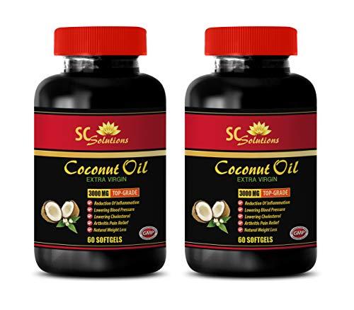 Extra Virgin Coconut Oil softgels - Extra Virgin Coconut Oil 3000 MG - Skin Care Anti Aging - 2 Bottles 120 Softgels