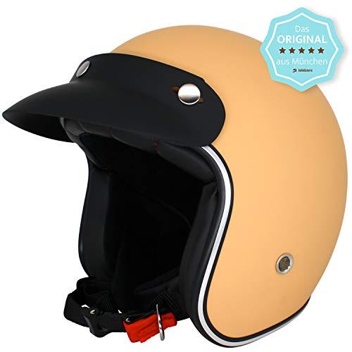 ORIGINAL Fräulein Irmi Retro Vespa-Helm, Jet-Helm mit Sonnen-Visier, Roller-Helm für Frauen und Herren im edlen Vintage-Look, Qualität nach ECE-Norm, hellbraun matt (XS)