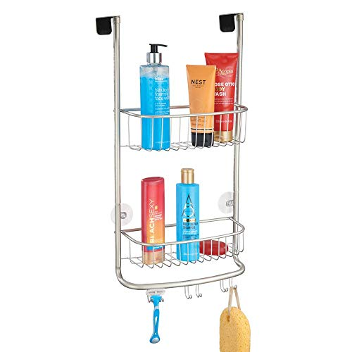 mDesign Modern Metal Bathroom Tub and Shower Caddy Over Door Hanging Storage Organizer Center with 6 Builtin Hooks and 2 Baskets for Bathroom Shower Stalls Bathtubs  Satin