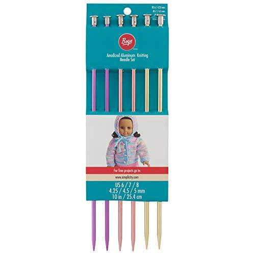 Boye Anodized Aluminum Metal Knitting Needle Set, 6pc, US Sizes 6'' - 8''