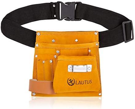 LAUTUS Suede Tool Bag Adjustable Poly Web Belt 5 Pockets Leather Hammer Holder Tape Measure product image