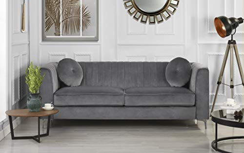 Divano Roma Furniture Classic and Traditional Living Room Marilyn Velvet Sofa with Tufted Accent Pillows (Grey), Large