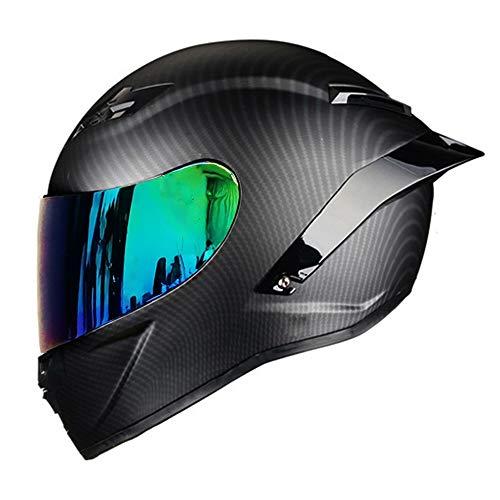 Woljay Vollgesicht Motorradhelm Unisex-Adult Offroad Moto Street Bike ATV Helme Mattschwarz DOT Approved (Colours,L)
