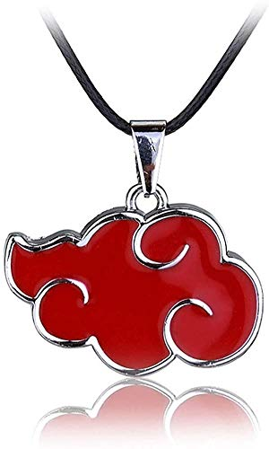 JIUMOO Naruto Akatsuki Member Cosplay Red Cloud Shape Pendant Necklace for Naruto Fans