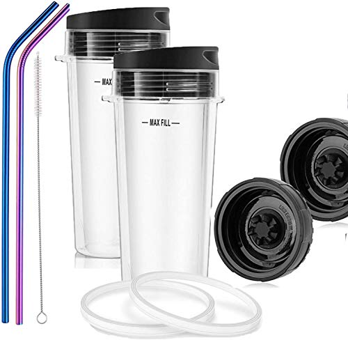 Replacement Parts for Nutri Ninja, Replacement Blade 6 Fins and Single Serve 16-Ounce Cup Set for BL770 BL780 BL660 Professional Blender