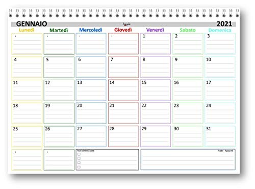 Planning mensile 21x30 COLORS bi annuale (2021 + 2022) SPIRALATO (24 fogli da 160 gr) agenda da tavolo mensile
