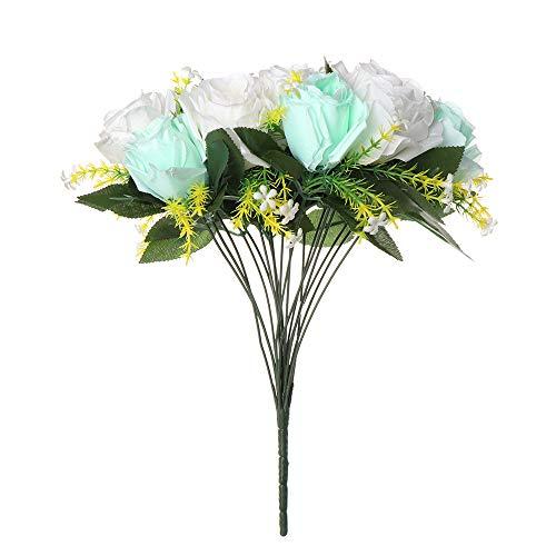 Lemon-Land 18Heads Wundersch?n. Handarbeit Home Dekor DIY Handwerk Real Touch Seide Bunch K¨¹nstliche Blumen Bouquet der Braut Dekoration von Hochzeiten(White&Tiffany Blue)