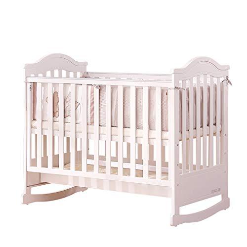 Babybett Babybett Massivholz Multifunktions Spleiß Bett Kinderbett Bett Spiel Bett (Farbe : Weiß, größe : 124 * 76.5 * 118.5cm)